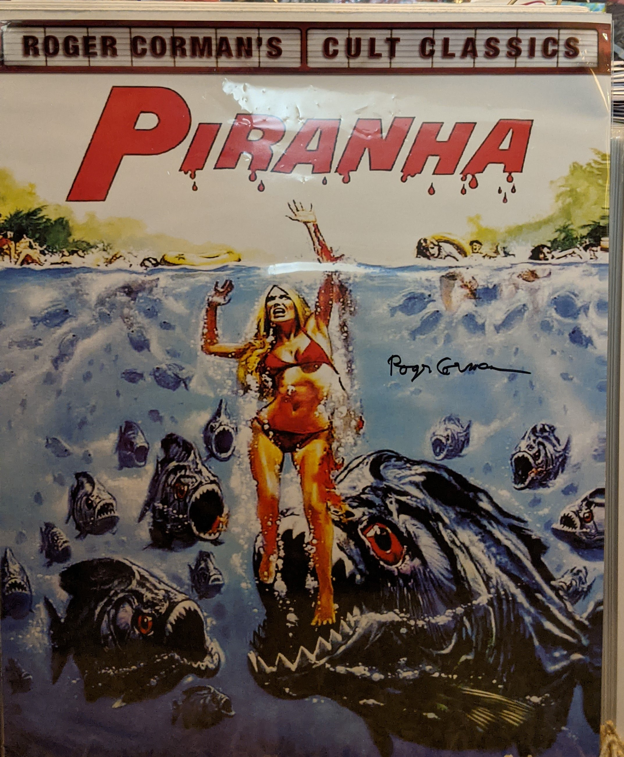 Piranha Poster Autographed by Roger Corman