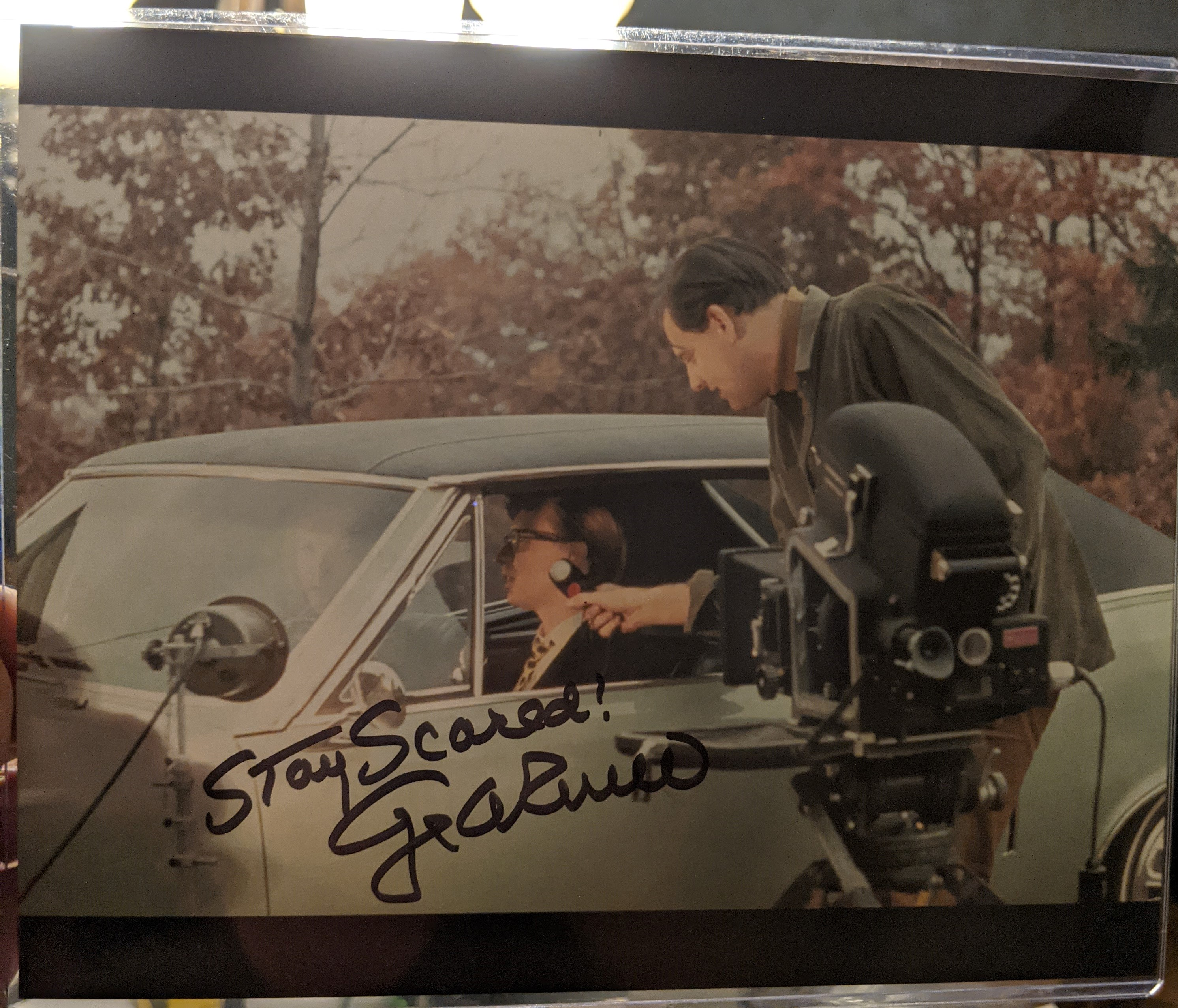 George Romero Autographed Night of the Living Dead Car Photo