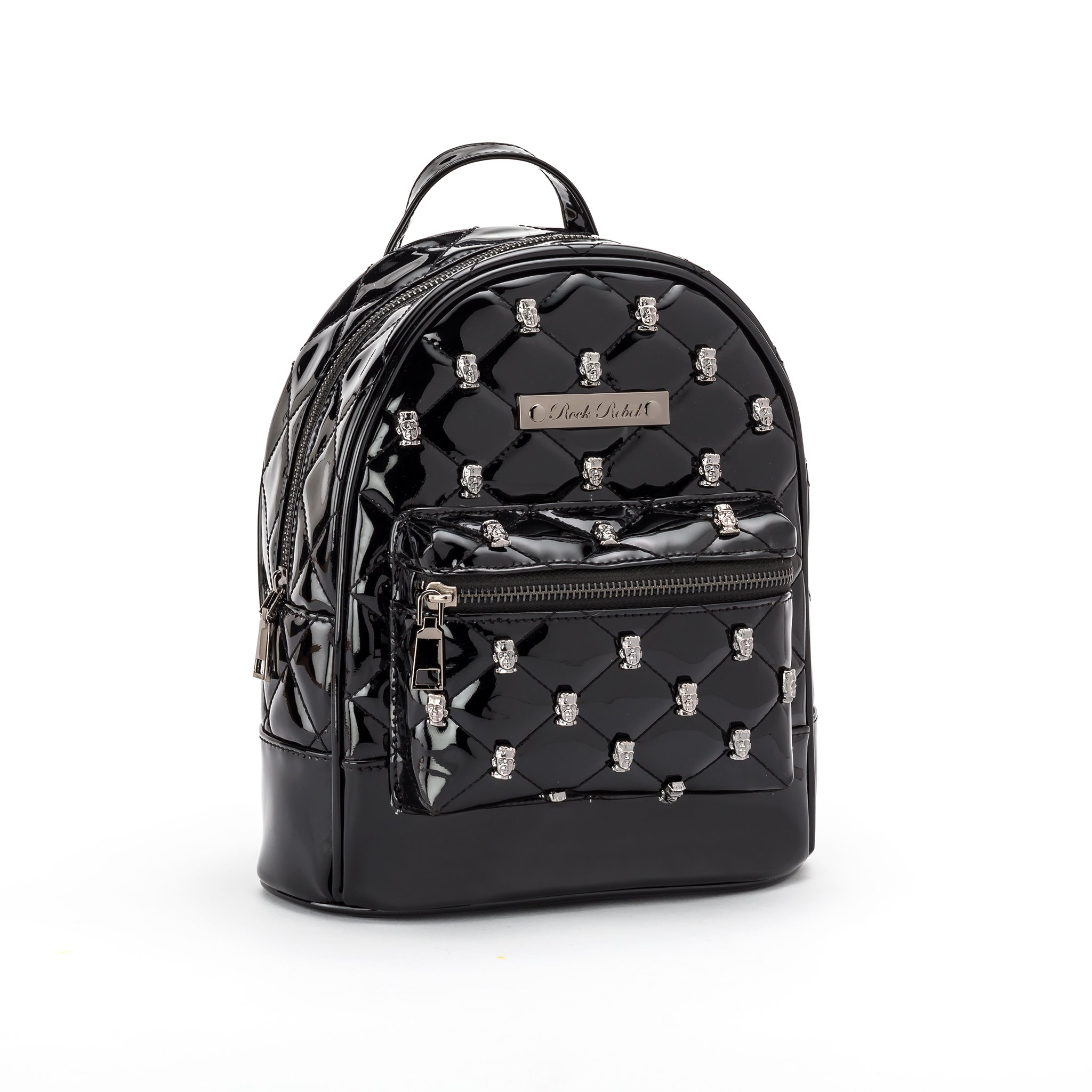Monster Head Quilted & Studded Black Mini Backpack
