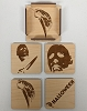 Halloween Wood Coasters, Set of 4 with holder