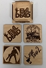 Evil Dead Wood Coasters, Set of 4 with holder