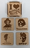 Horror Icons Wood Coasters, Set of 4 with holder